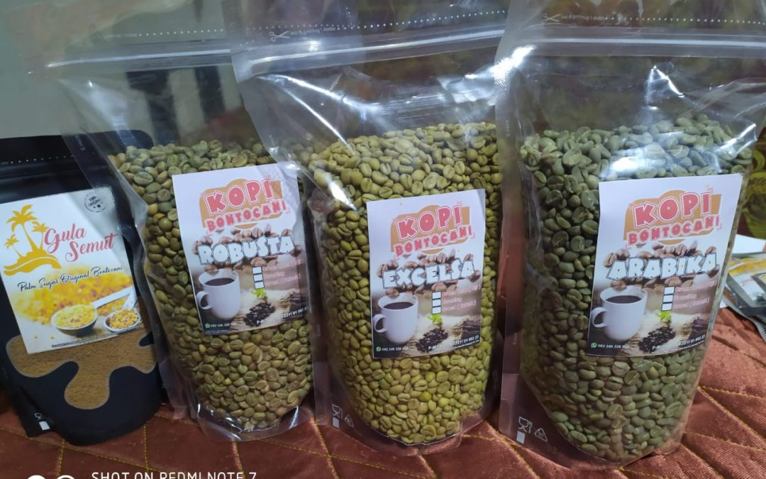 Green beans, roasted coffee, and ground coffee (Bontocani Coffee) produced by Bontocani Bumdes